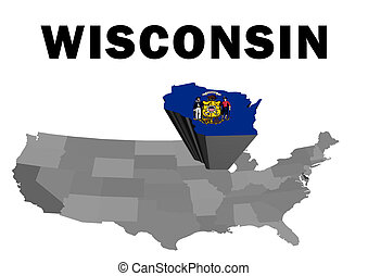 Wisconsin - Outline map of the United States with the state...