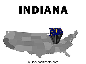 Indiana - Outline map of the United States with the state of...