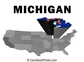 Michigan - Outline map of the United States with the state...