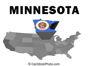 Minnesota - Outline map of the United States with the state...