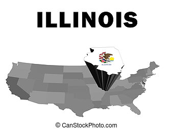 Illinois - Outline map of the United States with the state...