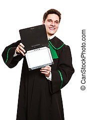 Male lawyer hold tablet computer in open case.