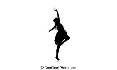 Graceful girl dancer dancing contemporary dance on white,...