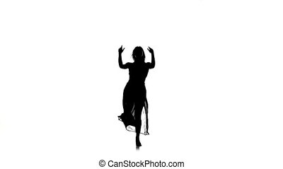 Beautiful woman go on dance modern contemporary style on white, silhouette, slow motion
