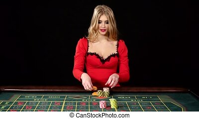 The girl in the red dress lost in the casino. Black - The...