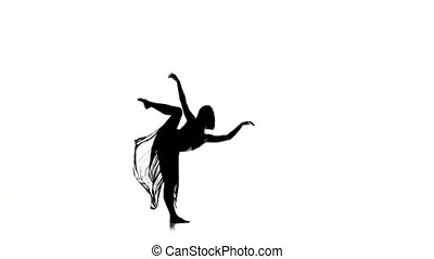 Beautiful woman in long skirt dance modern contemporary style on white, silhouette, slow motion