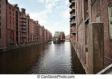 Speicherstadt in Hamburg, Germany - View form Speicherstadt...