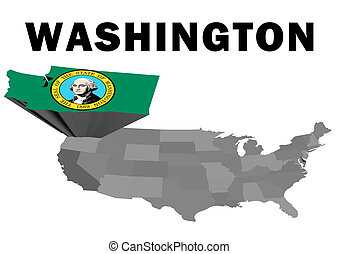 Washington - Outline map of the United States with the state...