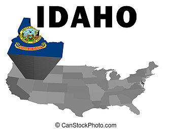 Idaho - Outline map of the United States with the state of...