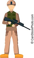 USA troop armed forces man with weapon illustration US Army...