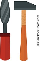 Chisel, hammer vector illustration Chisel, hammer isolated...