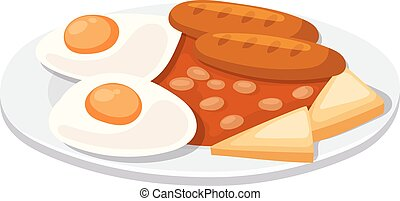 Breakfast with scrambled eggs and toasts, sausage isolated on white background.