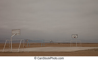Basketball Field In the Desert, Peru