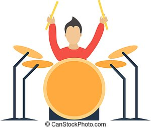 Musician drummer cartoon characters with guitar isolated on...