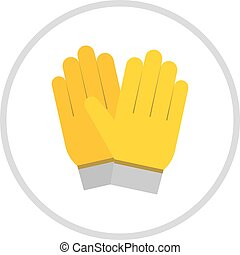 Yellow gloves, hand protection isolated on white background....