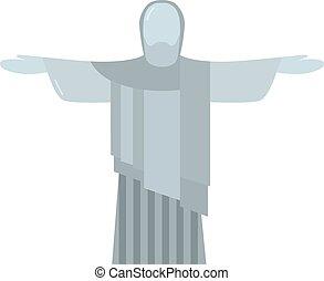 Religion statue illustration. Rio statue. Brazil statue...