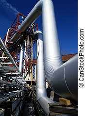 Pipes, tubes, cables and equipment at a power plant