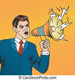 Pop art boss business leader and megaphone vector...