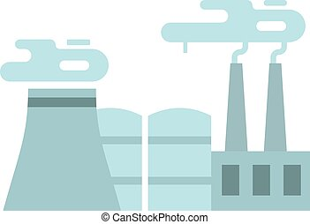 Flat thermoelectric power station flat  illustration.