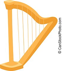 Harp illustration - Harp isolated on white. Harp icon. Harp...