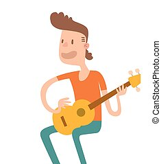 Acoustic guitar boy sitting and play flat illustration...