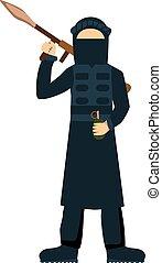 Terrorist isolated on white background Terrorist illustrator...
