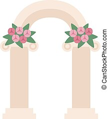 Wedding arch with pink roses. Wedding arch. Beautiful...