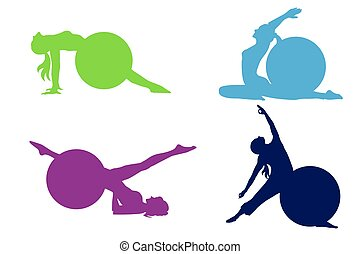 set of icons, fitness, pilates, yoga, vector illustration