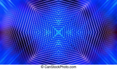 Kaleidoscopic blue wire frame loop - Animated Kaleidoscopic...
