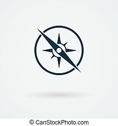 Vector compass icon. Logo. Pictogram. Button.