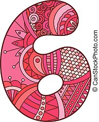 Zentangle number. Vector decorative number.