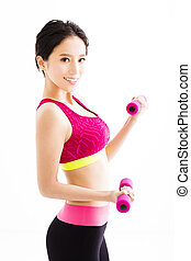 fitness young woman working out with dumbbells