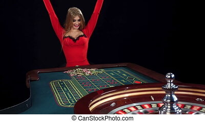 Woman playing texas hold'em poker. Black - Very beautiful...