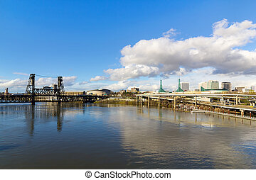 Northeast Portland Skyline and Steel Bridge - Northeast...