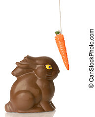 chocolate bunny with carrot on string