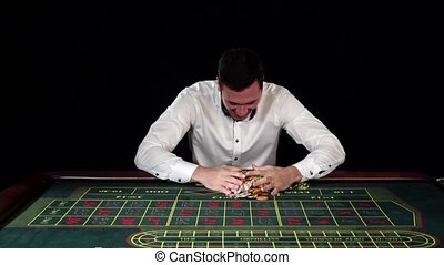 Solid businessman won in blackjack. Black