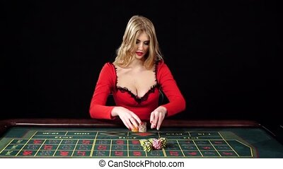 Girl puts bets in the casino club and lose everything,...