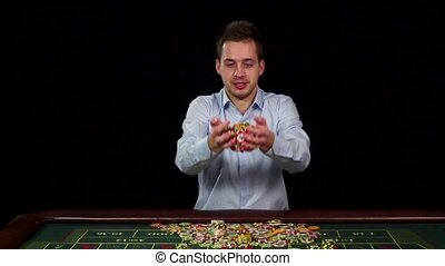Poker winner, chips in the air, black, slow motion - Poker...