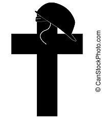 soldiers helmet sitting on cross - silhouette of soldiers...