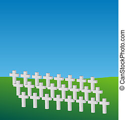 crosses commemorating dead soldiers in a meadow