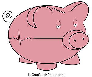 piggy bank with flatline heart rhythm - money concept
