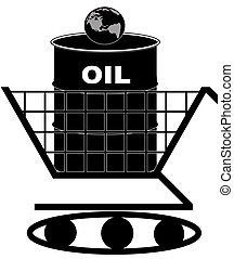 oil barrel in shopping cart