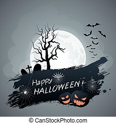 Happy Halloween. Cemetery with wood bats and owl on a background