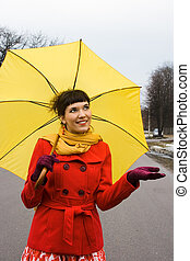 beautiful girl with umbrella - beautiful girl on red coat...