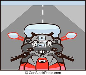 Motorcycle Riders View Color Road ahead