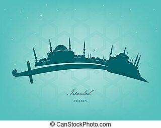 Istanbul - vector silhouette of Istanbul on a Turkish sword