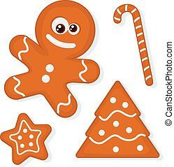 Gingerbread Cookies - Vector set of christmas homemade...