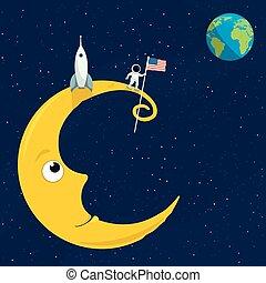 Man on the Moon - cartoon illustation of the man on the moon