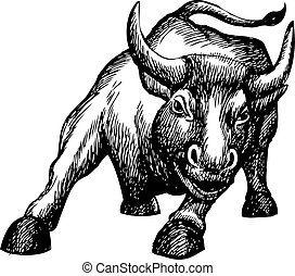 freehand sketch illustration of charging bull, doodle hand...