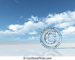 copyright - frozen copyright symbol under cloudy blue sky -...